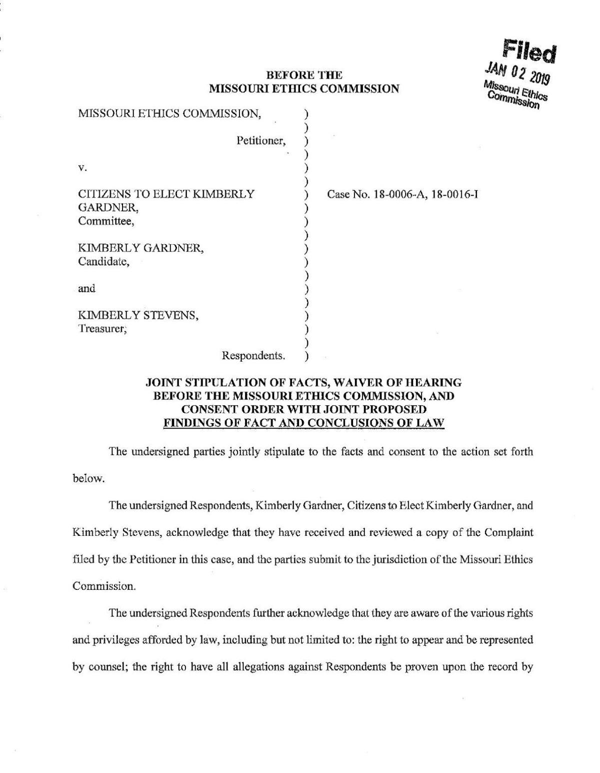 Consent order between Kim Gardner and Missouri Ethics Commission
