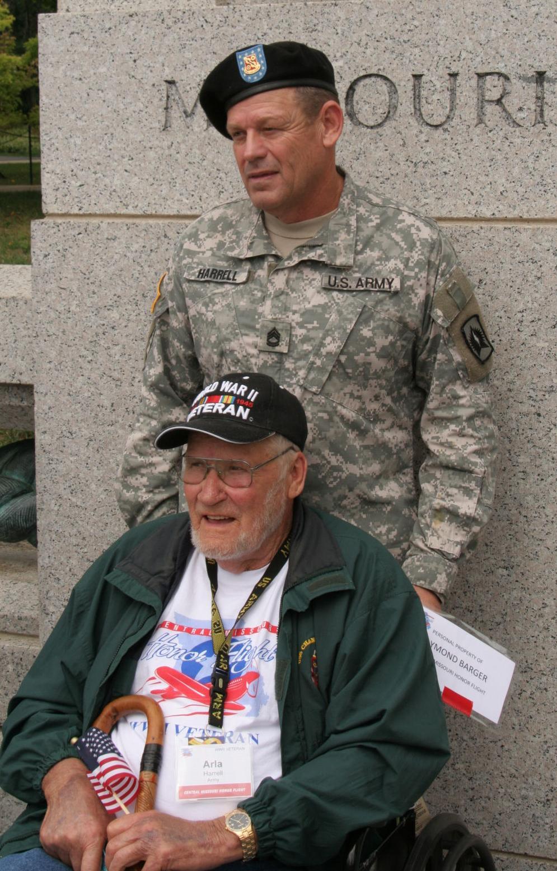 Arla Wayne Harrell of Macon, Mo., and his son, Ray