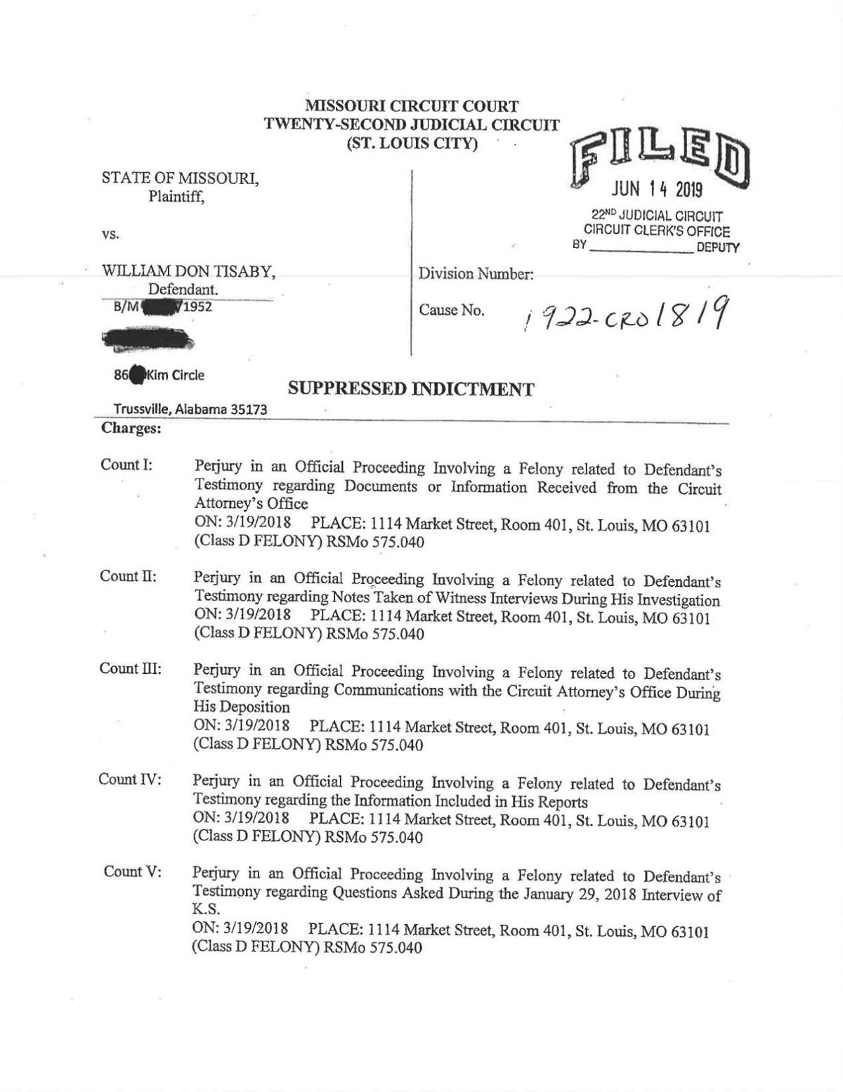 Perjury indictment of William Don Tisaby
