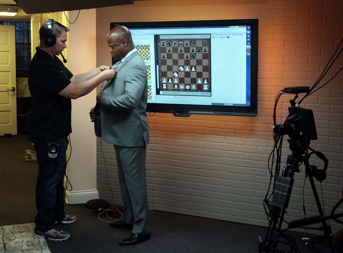 New broadcasting studio for 2015 U.S. Chess Championships- mic Maurice Ashley