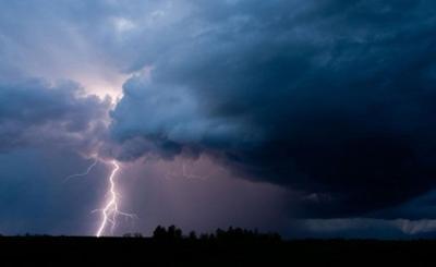 Lightning in sky