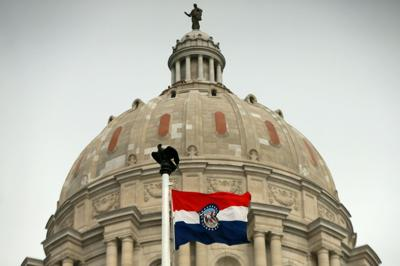 Missouri Capitol and Missouri flag
