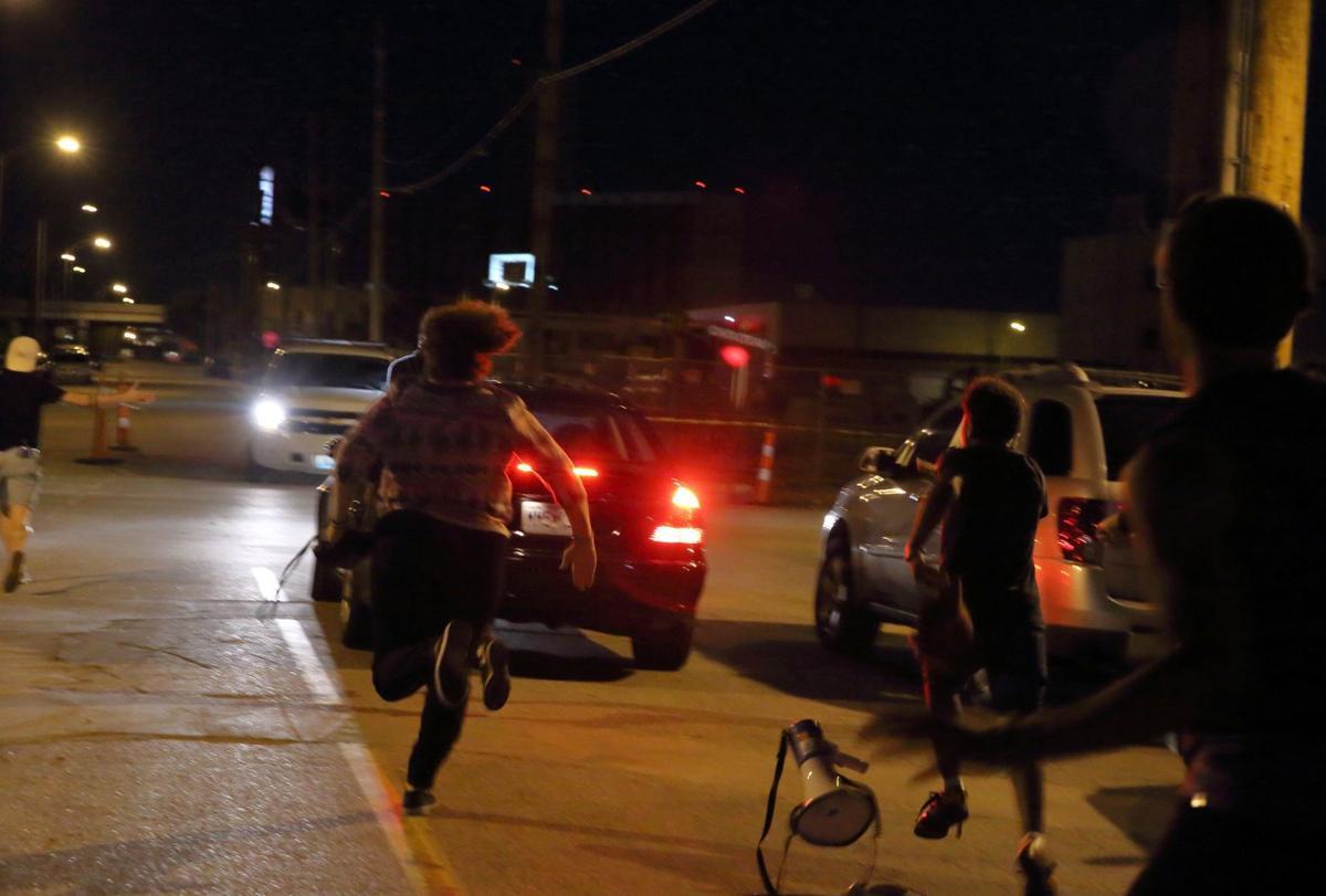 Car Drives Through St Louis Protest
