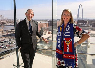 MLS commissioner Garber with ownership representative Carolyn Kindle Betz