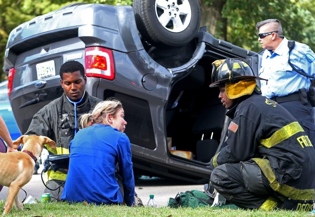 Overturned car in Forest Park