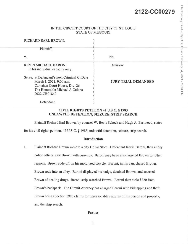 Lawsuit against former St. Louis Officer Kevin Baroni