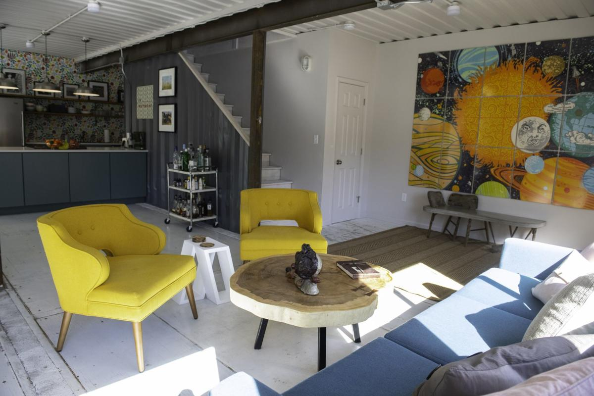 The living room inside Travis and Gina Sheridan's shipping container house in Old North St. Louis