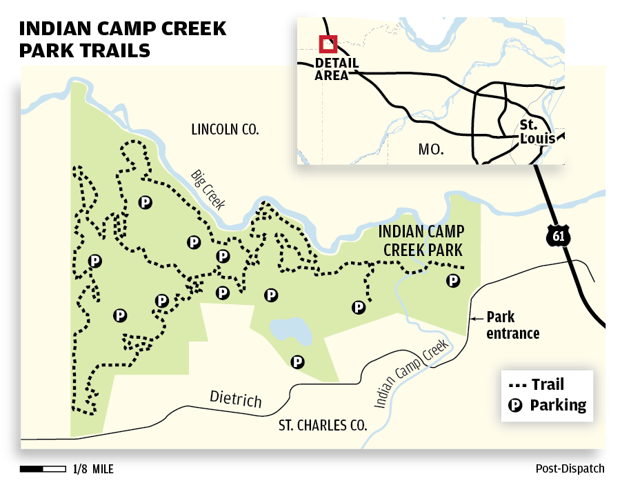 Indian Camp Creek Park Trail map | | stltoday.com on beaver creek trail map, twin sisters trail colorado map, island lake trail colorado map, crags trail colorado map, rainbow trail colorado map, waterton canyon trail map, three lakes trail colorado map,