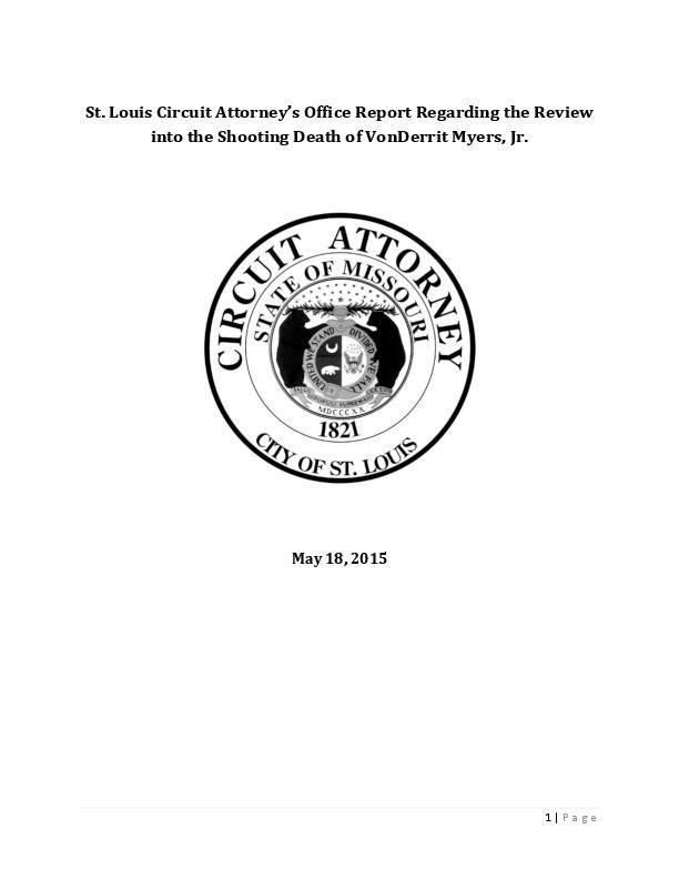 St. Louis Circuit Attorney report on VonDerrit Myers shooting