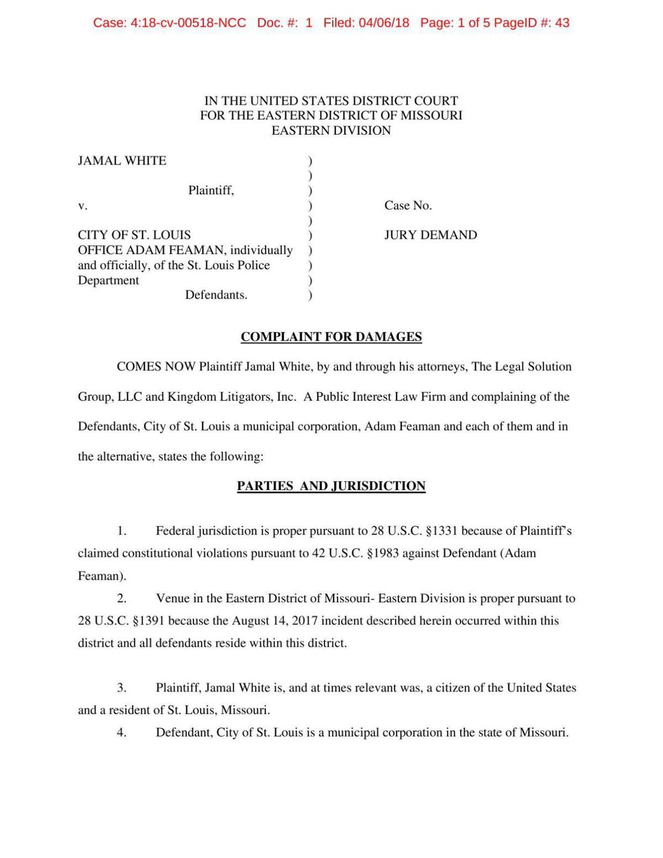 Jamal White suit over his 2017 arrest