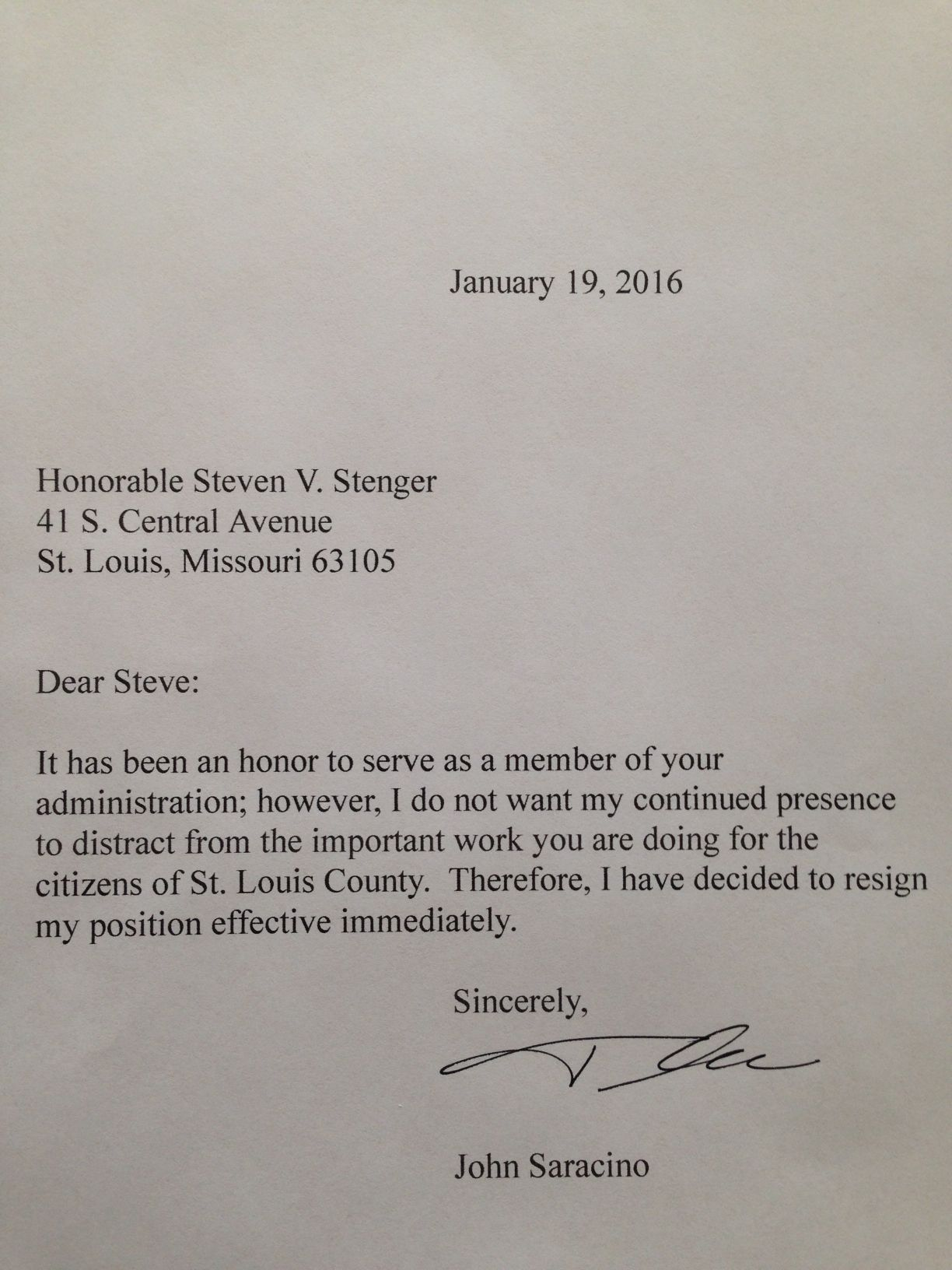 Saracino resignation letter St Louis County official