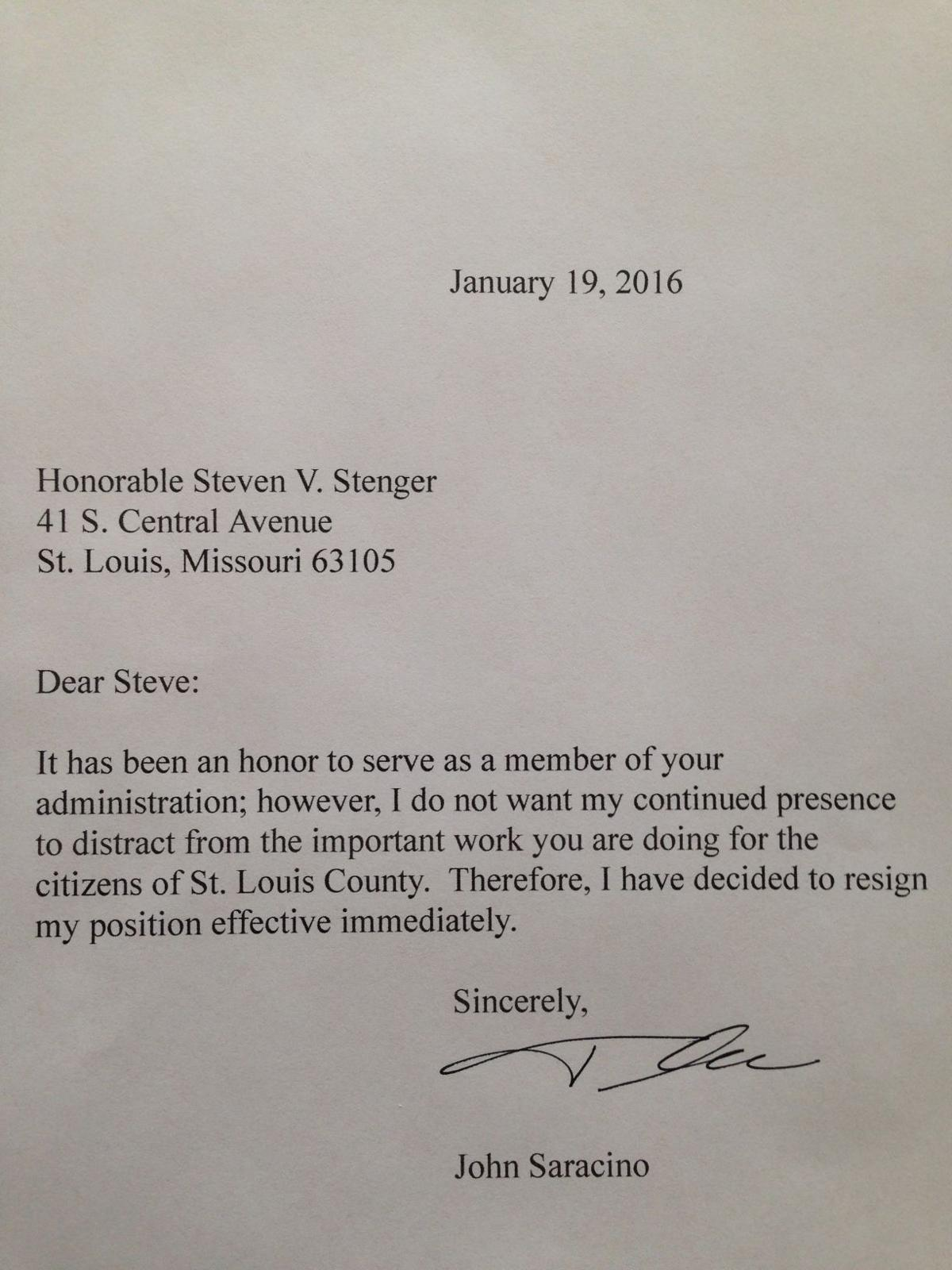 St louis county official resigns over letters written by stenger saracino resignation letter aljukfo Images
