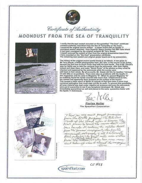 Lunar dust auction item