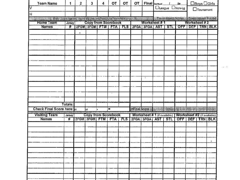 basketball stat sheets and forms coaches corner