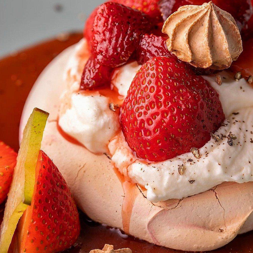 SR Chef Tai Davis Strawberry Pepper Pavlova for publication April 21, 2021
