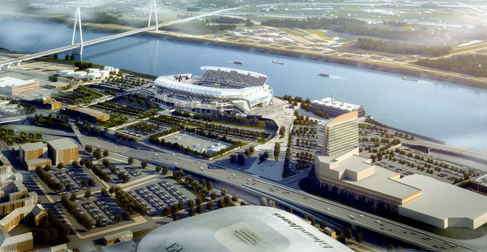 Proposed riverfront stadium - aerial view from Edward Jones Dome