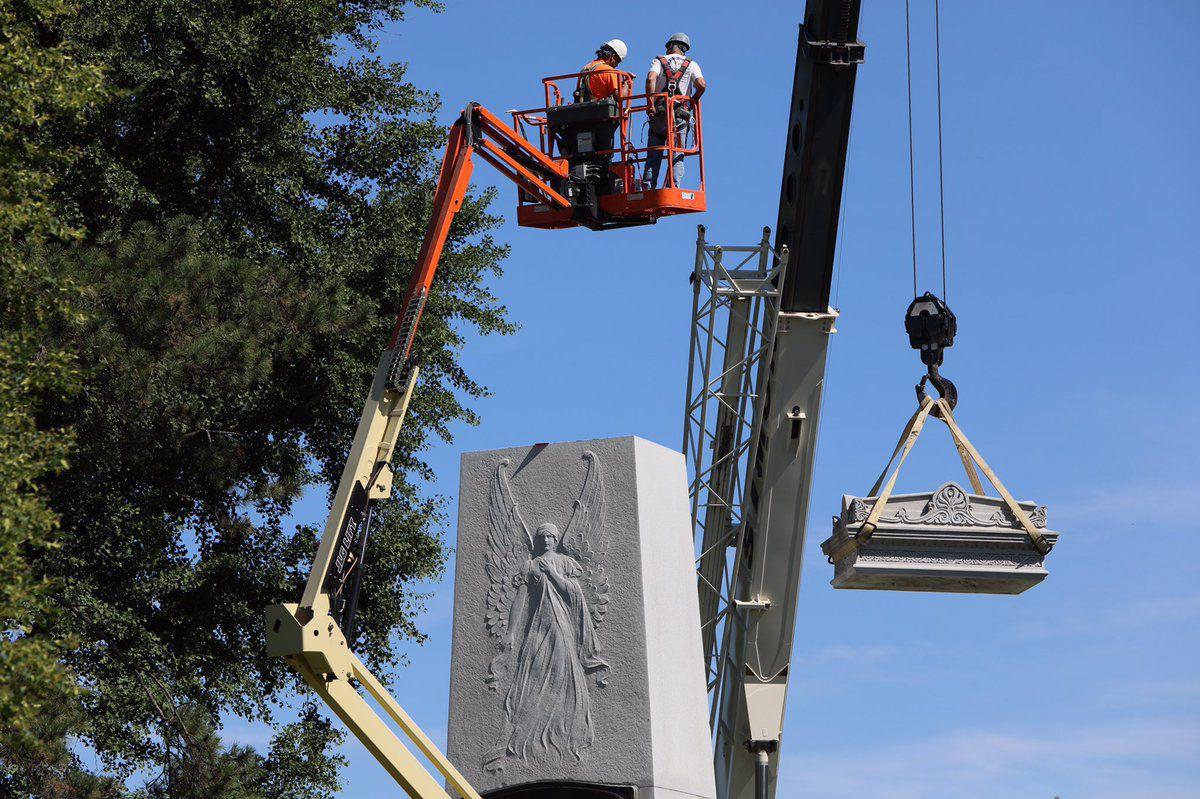 Removal of top of Confederate Monument