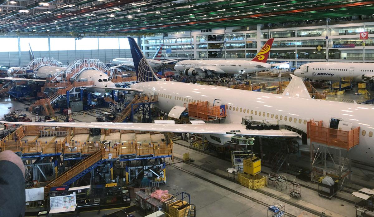 Boeing 787 Dreamliners are shown in final production at widebody factory in North Charleston