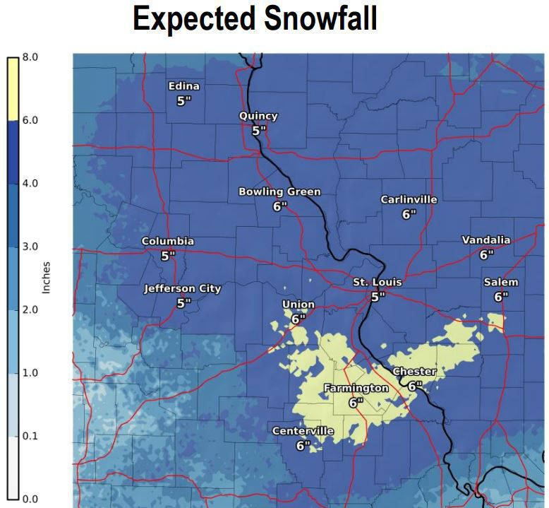 Get your shovels ready Significant snow forecast for St Louis this