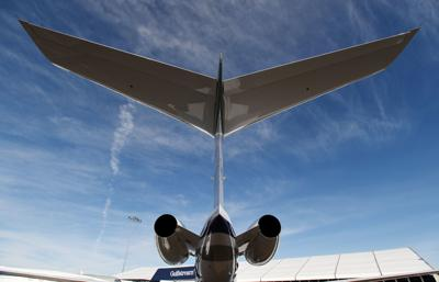 FILE PHOTO: A Gulfstream 650ER business jet is displayed at the Gulfstream booth at the National Business Aviation Association (NBAA) exhibition in Las Vegas