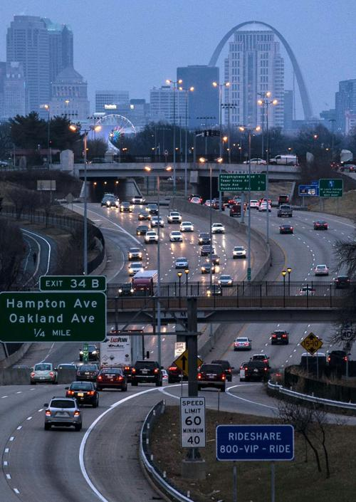 Rush hour traffic on Interstate 64 in St. Louis