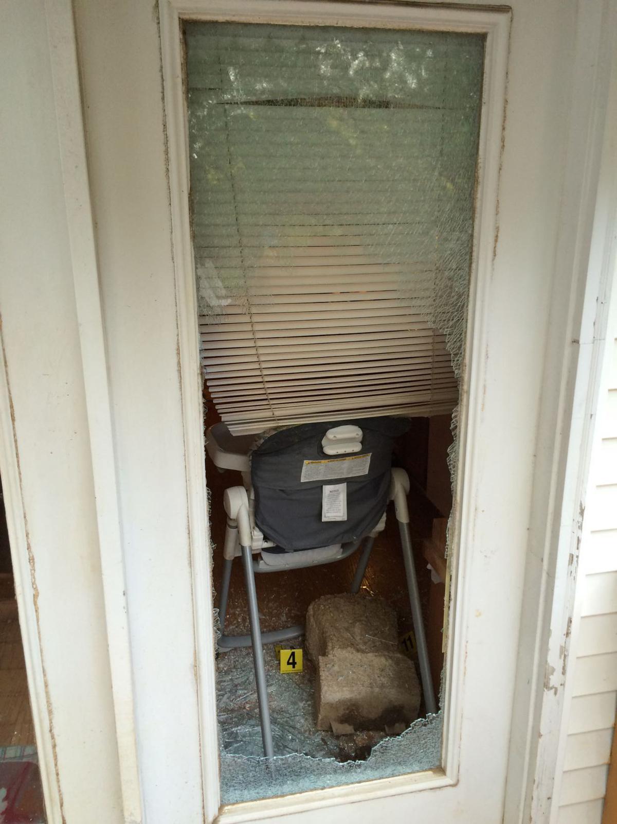 Door broken by concrete planter