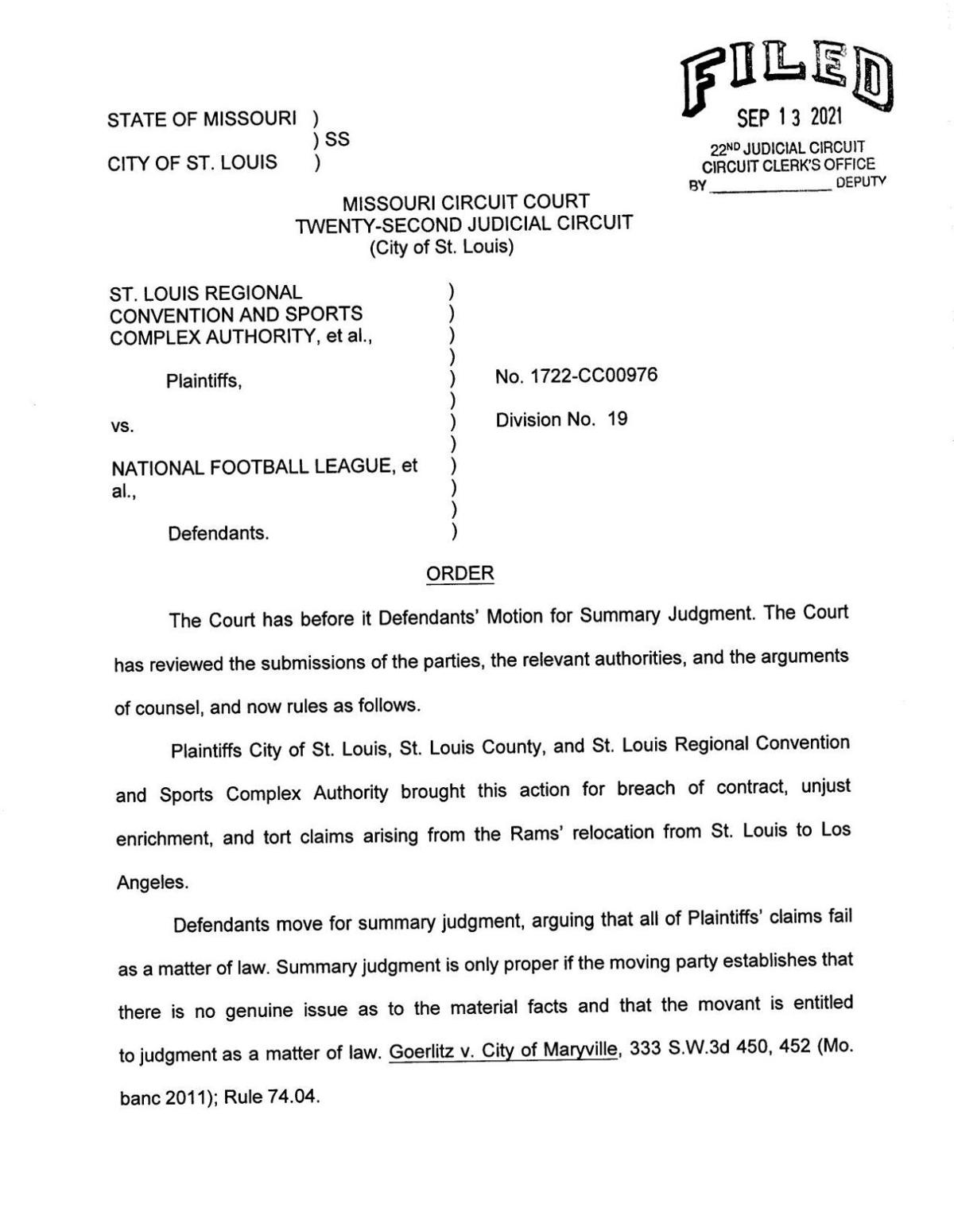 Judge denies motion for summary judgment in suit against Rams, NFL and Kroenke
