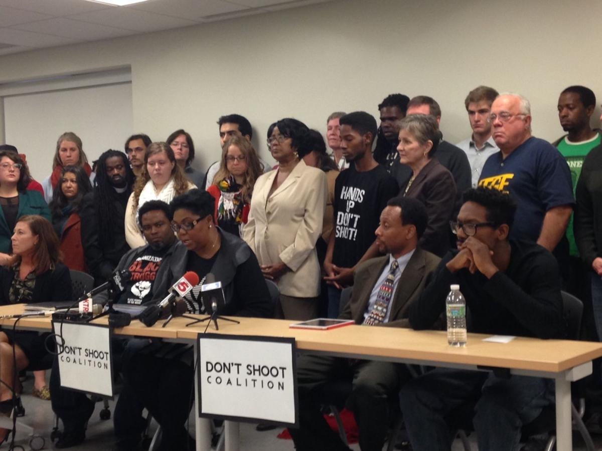 Members of the Don't Shoot Coalition discuss upcoming grand jury announcement