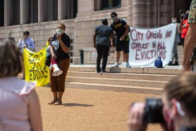 Eviction protesters at City Hall