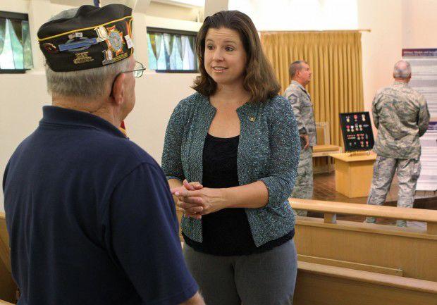 Vicki Englund talks with VFW commander