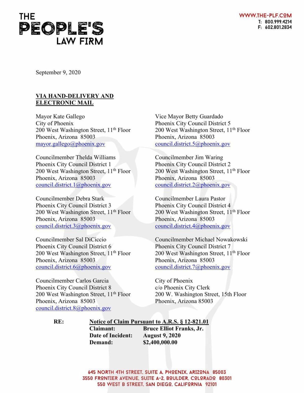 Copy of Bruce Franks Jr. Notice of Claim