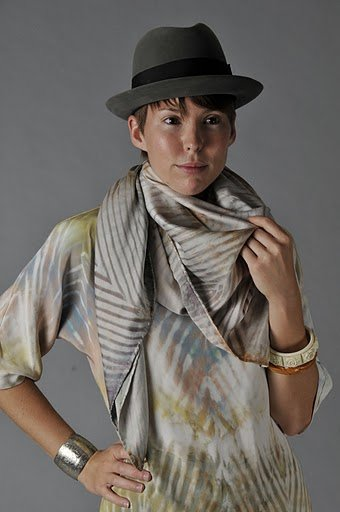 Katie Kantley models one of her hand-dyed scarves and tops.