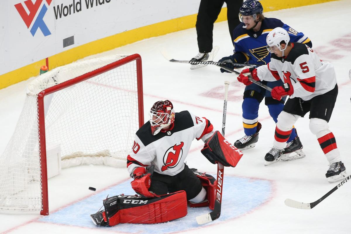 Blues get back to winning by beating Devils