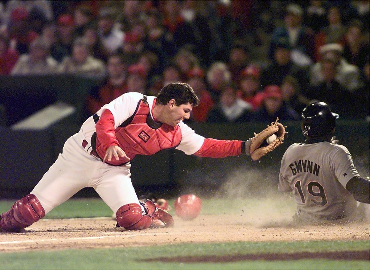 Tom Pagnozzi play at the plate with Tony Gwynn