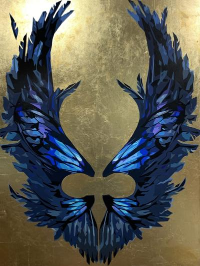 d-happenings072921-Francesco_Gillia-Wings_no4_Raven-56x42-Acrylics_on_canvas_and-gold_leaf-2020-scaled