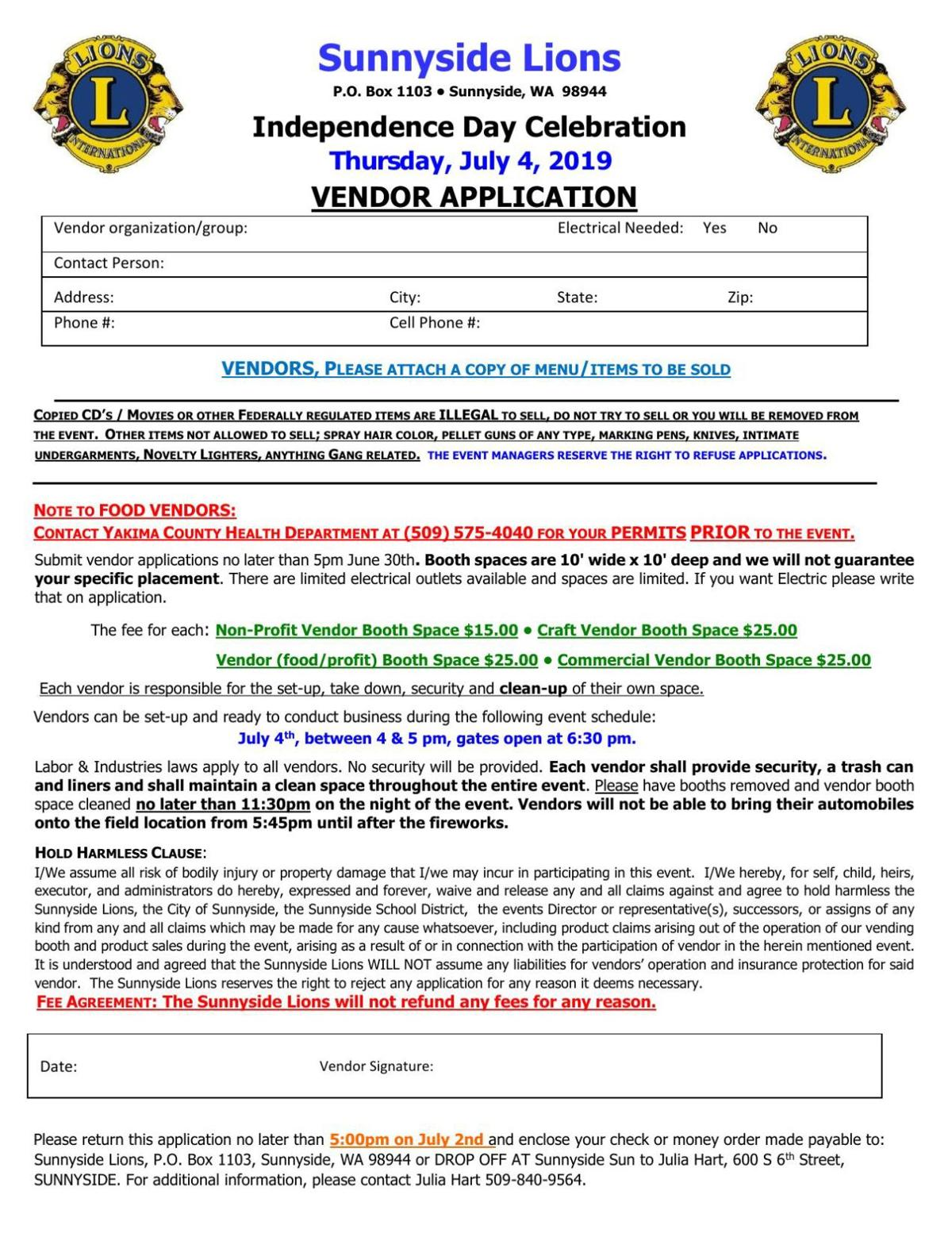 July 4th Celebration Vendor and Contest Applications
