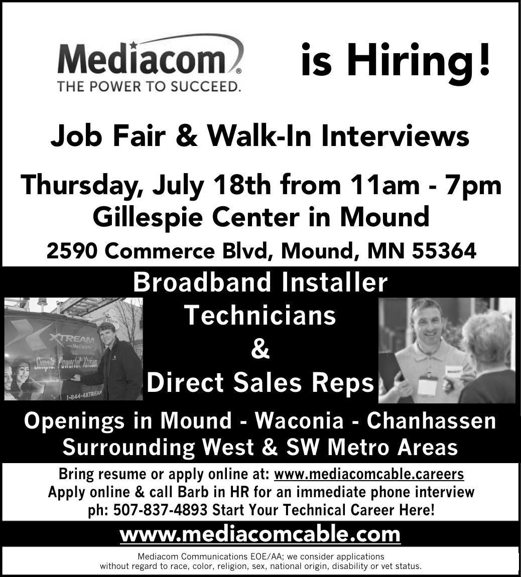 Job Fair - July 18 - Gillespie Center in Mound