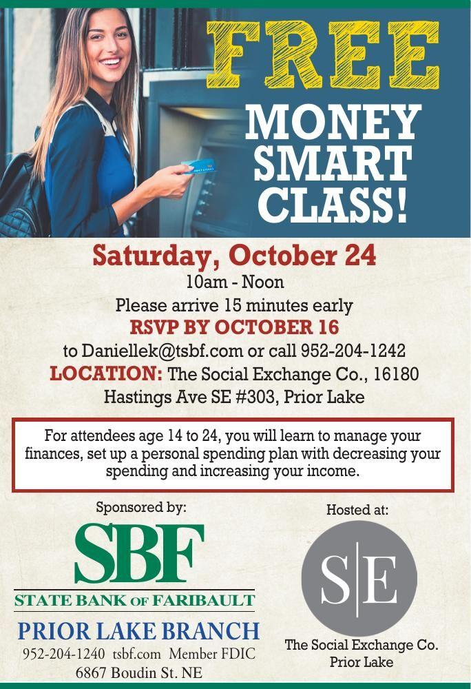 FREE MONEY SMART CLASS! Saturday,