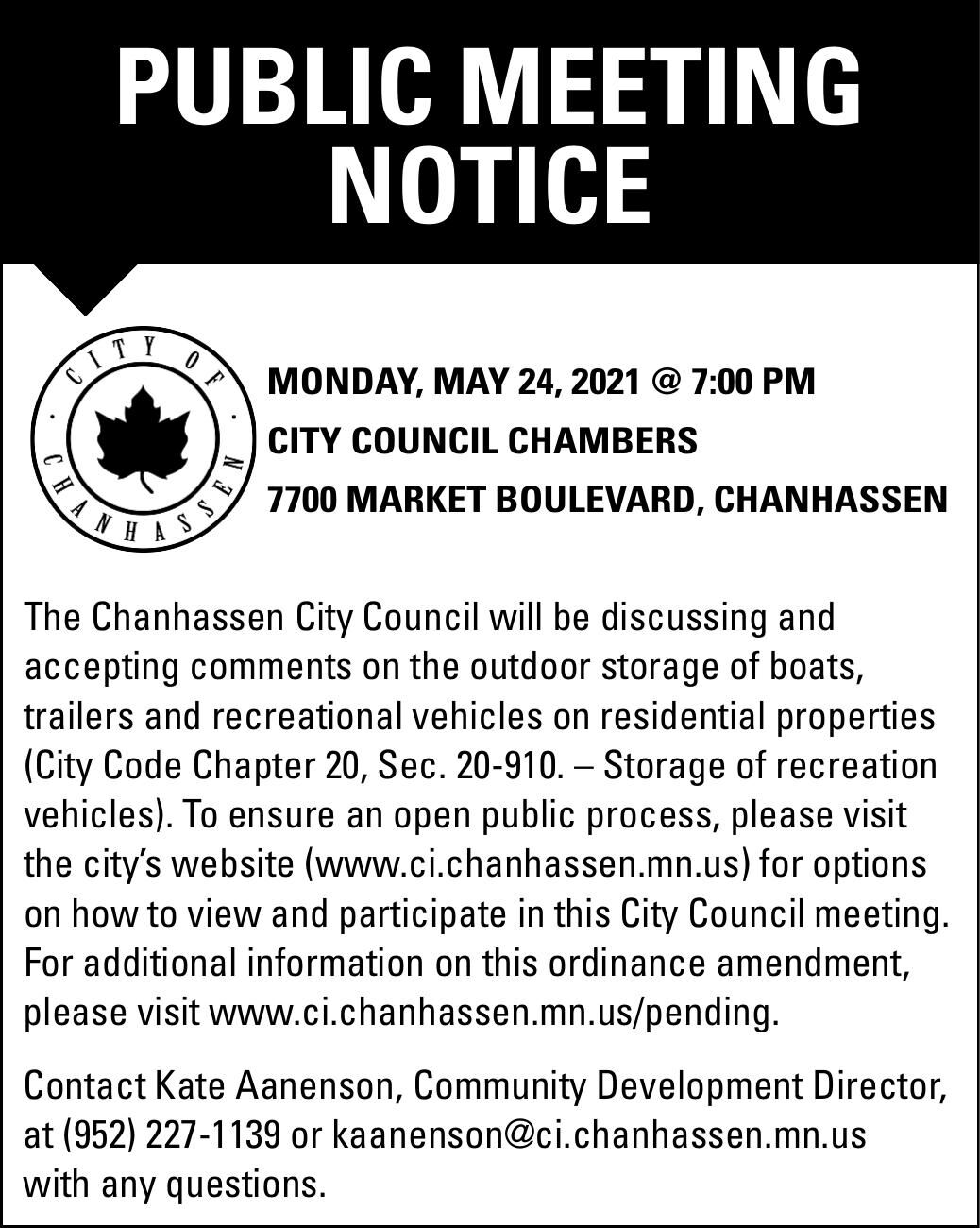 PUBLIC MEETING NOTICE MONday, May 24,