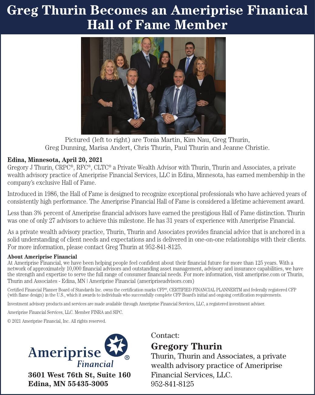 Greg Thurin Becomes an Ameriprise