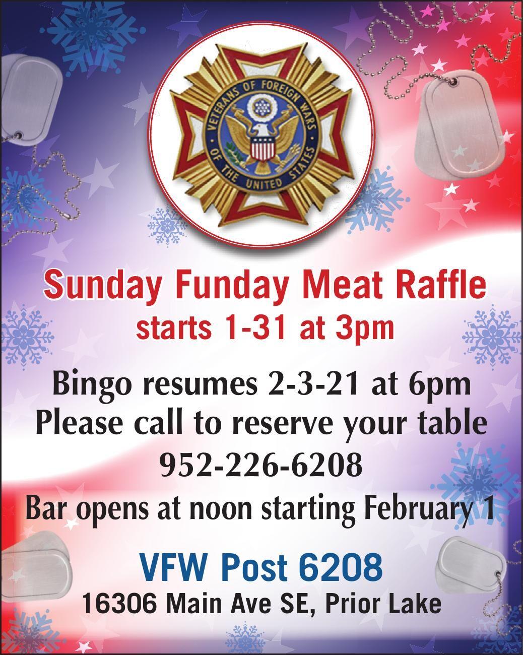 Sunday Funday Meat Raffle starts 1-31