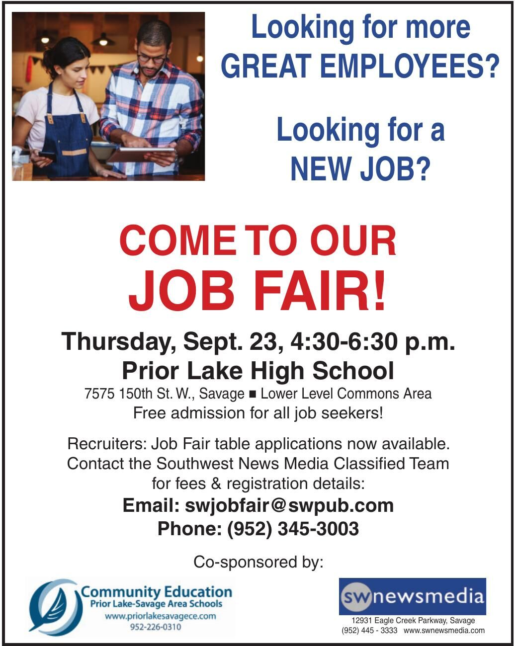 Come To Our Job Fair! Sept. 23rd