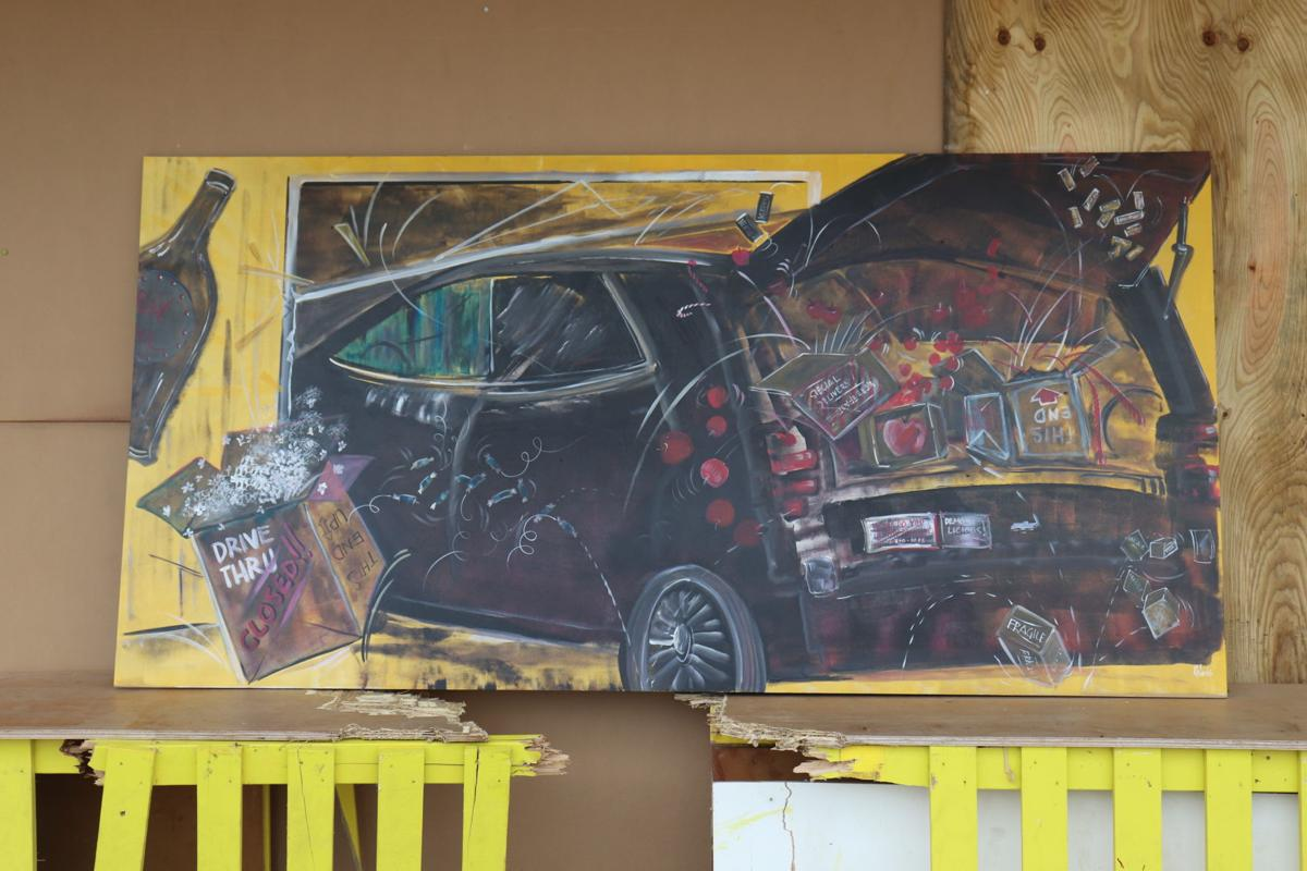 Car crash painting at MN's Largest Candy Store