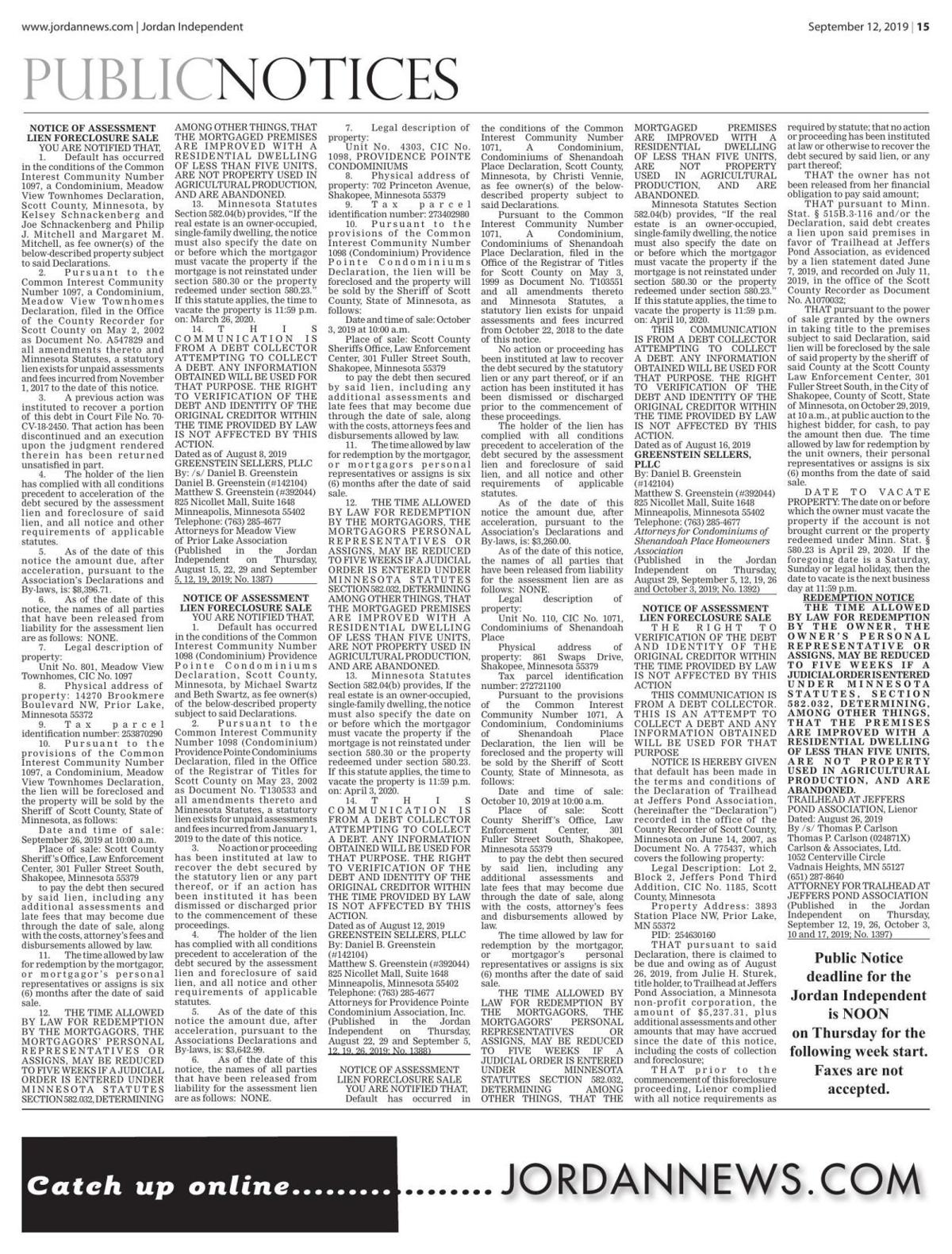 Public notices from the September 12, 2019 Jordan Independent