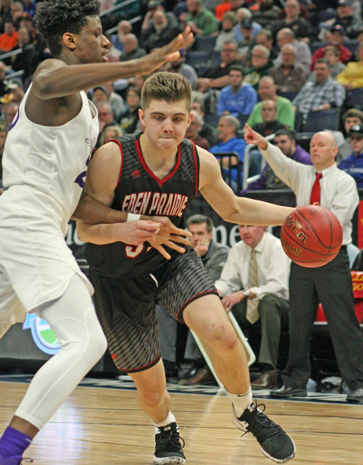 Eden Prairie sophomore Austin Andrews drives past Cretin-Derham Hall senior  Daniel Oturu in last Thursday's state semifinal. Andrews would finish with  16 ...