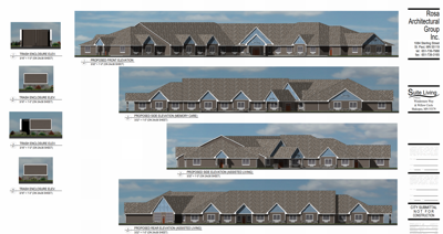 Elevation renderings for memory care, assisted living