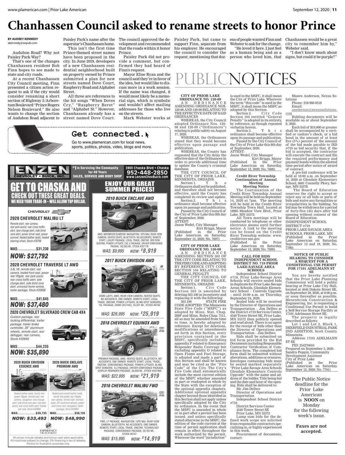 Public Notices from September 12, 2020