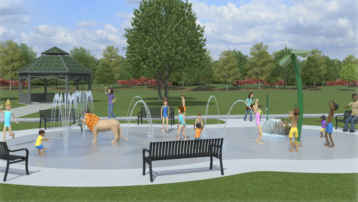 Renderings of the proposed Aquatix splash pad