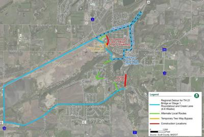 Highway 21 detour for 2020