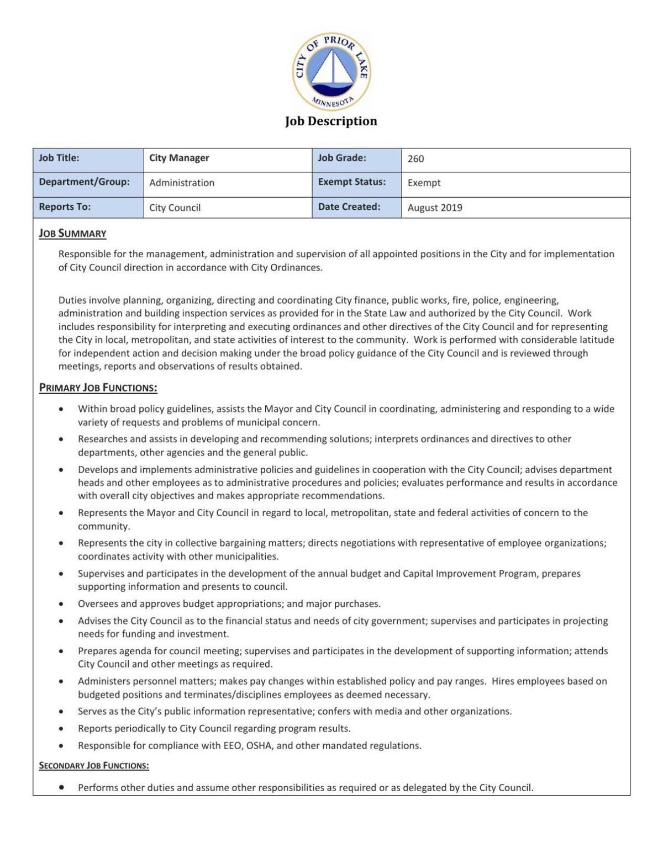 Prior Lake City Manager Job Description